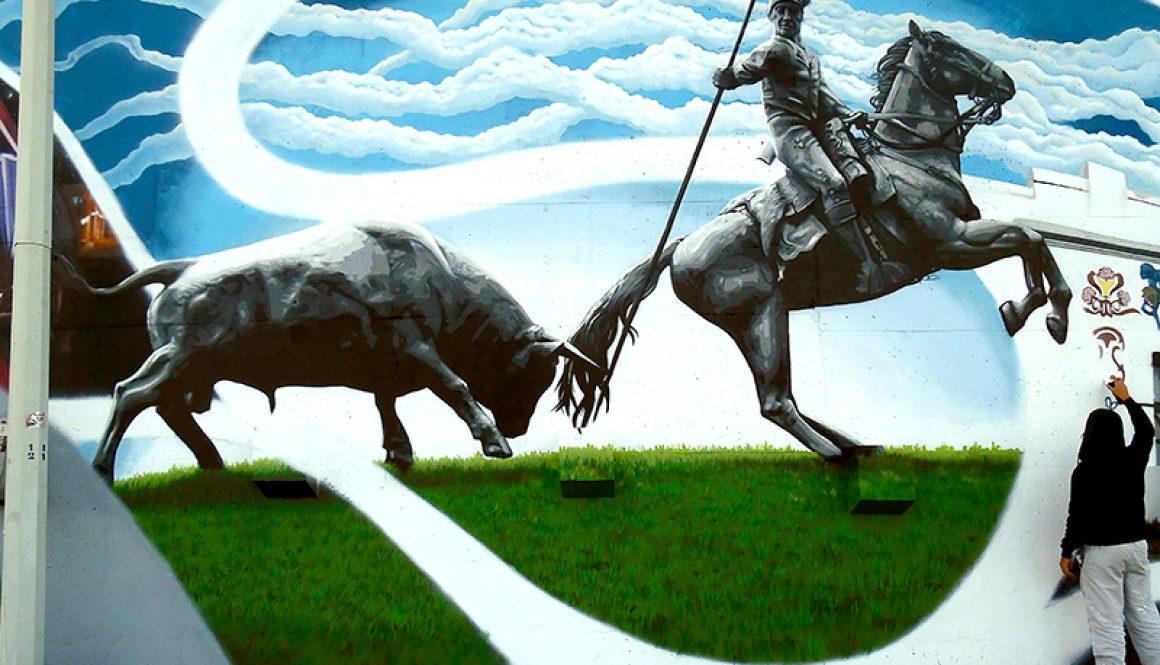 Mural da Cidade Vila Franca de Xira – Estátua do touro e do campino