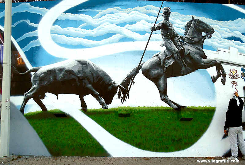 2016_VILE_Mural_da_Cidade_Vila_Franca_de_Xira_Estatua_do_touro_e_do_campino